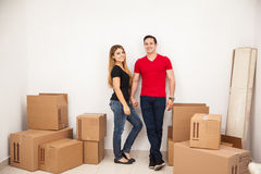 Pretty couple in their new home Royalty Free Stock Image