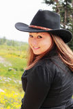 Pretty Cowgirl in Black Royalty Free Stock Images