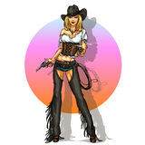 Pretty cowgirl with guns,  Royalty Free Stock Photo