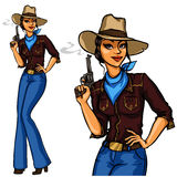 Pretty Cowgirl holding smoking gun Stock Photos