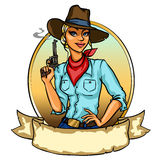 Pretty Cowgirl holding smoking gun. Isolated on white Royalty Free Stock Image