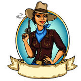 Pretty Cowgirl holding smoking gun. Isolated on white Stock Image