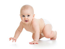 Pretty crawling baby girl Stock Photos