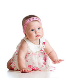 Pretty crawling baby girl on white Stock Image
