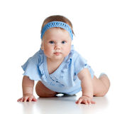 Pretty crawling baby girl on white Royalty Free Stock Photography