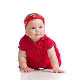 Pretty crawling baby girl on white Stock Images