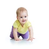 Pretty crawling baby on white. Pretty crawling baby girl on white background stock photos