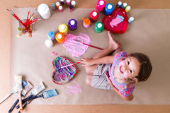 Pretty creative little girl artist Royalty Free Stock Image