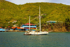 A pretty cruising yacht in the caribbean Royalty Free Stock Image