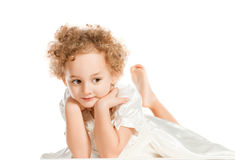 Pretty curly blond  little girl Stock Photos