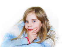 Pretty curly blond little girl Stock Photo
