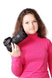 Pretty curly girl with camera isolated Royalty Free Stock Photos