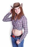 Pretty curly girl in a cowboy hat Stock Photo