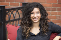 Pretty Curly Haired Woman Outdoor Bistro Royalty Free Stock Photography