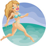 Pretty cute blond girl in bikini run on the beach Royalty Free Stock Photos