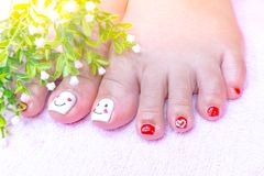 Pretty cute gel acrylic toenail heart shape design stock image