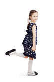 Pretty cute girl wearing the dark blue dress Stock Photo