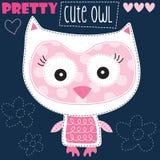 Pretty cute owl vector illustration Royalty Free Stock Photo
