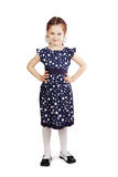 Pretty cute young girl wearing the dark blue dress Royalty Free Stock Image
