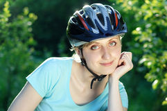 Pretty cyclist girl Royalty Free Stock Photos