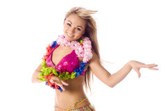 Pretty dance girl in hawaiian costume Royalty Free Stock Photo