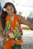 Pretty dancer on Island in Rarotonga, Cook Islands, South Pacific Royalty Free Stock Images