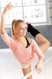 Pretty dancer practicing in gym Royalty Free Stock Photos