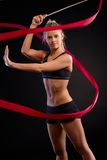 Pretty dancer with ribbon Royalty Free Stock Photos