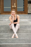 Pretty dancer on the steps Royalty Free Stock Photo