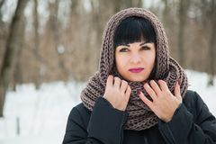 Pretty dark haired lady in warm cozy snood. Winter snowy day, frosty weather, copy space royalty free stock photography