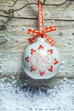 Pretty decorated ceramic Christmas bauble Stock Photography