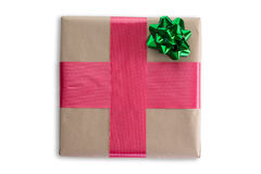 Pretty decorated Christmas gift with ribbon Royalty Free Stock Photos