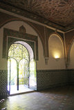 Pretty and delicate decoration, Alcazar of Seville. Royalty Free Stock Photos