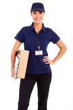 Pretty delivery girl Royalty Free Stock Photos