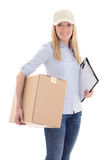 Pretty delivery girl with carboard box isolated on white Stock Images