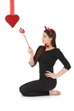 Pretty devil at valentine's day Stock Images