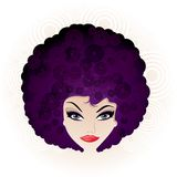 Pretty Disco Girl. With Stylised Afro Hairstyle Royalty Free Stock Photo