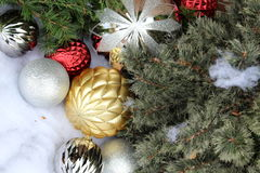 Pretty display of holiday ornaments Royalty Free Stock Photo