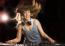 Pretty dj smiling and dancing Royalty Free Stock Photos