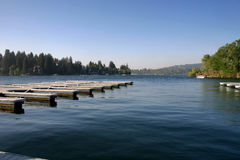 Pretty Dock. A dock in front of a scenic lake Stock Images