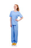 Pretty doctor  in blue uniform Stock Image