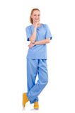 Pretty doctor  in blue uniform Royalty Free Stock Images