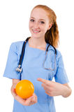 Pretty doctor  in blue uniform Royalty Free Stock Photos