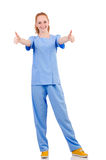 Pretty doctor  in blue uniform Royalty Free Stock Photography