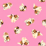 Pretty dog pattern. I made the illustration of the puppy which I loved Stock Images