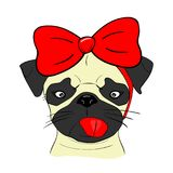Pretty dog with red bow, cartoon royalty free illustration