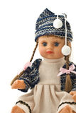 Pretty doll with long pigtails royalty free stock photography