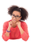Pretty dreaming african american teenage girl in pink lying isol Royalty Free Stock Image