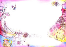 Pretty Dress Background. A4 sized background with whimsical, romantic drawings created with watercolor, pencil and ink Royalty Free Stock Photo