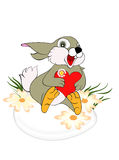 Pretty Easter bunny sit on egg royalty free illustration
